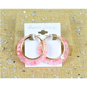 1p Boucles Oreilles Paillettés Créoles 45mm fermeture à clapet New Collection 77694
