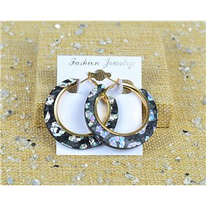 1p Boucles Oreilles Paillettés Créoles 45mm fermeture à clapet New Collection 77703