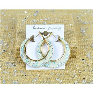 1p Boucles Oreilles Paillettés Créoles 45mm fermeture à clapet New Collection 77704