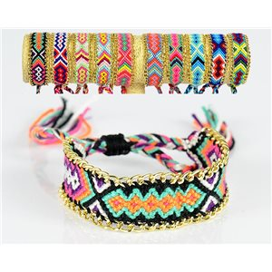 Braided cotton cuff bracelet on sliding knot New Ethnic Collection 77734