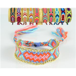 Braided cotton cuff bracelet on sliding knot New Ethnic Collection 77739