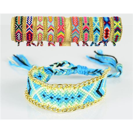 Braided cotton cuff bracelet on sliding knot New Ethnic Collection 77741