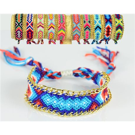 Braided cotton cuff bracelet on sliding knot New Ethnic Collection 77742