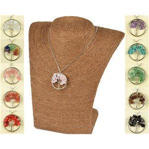Pendant Necklace Love Tree of Life 30mm on Rose Quartz Stone 77746