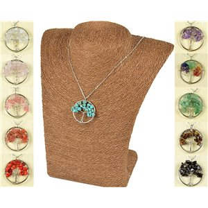 Tree of Life 30mm Pendant Necklace on Howlite Turquoise Stone 77749