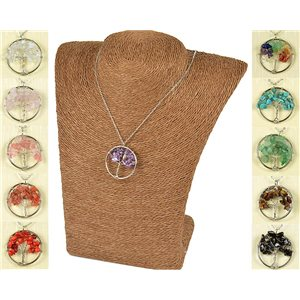 Pendant Necklace Love Tree of Life 30mm on Amethyst Stone 77753
