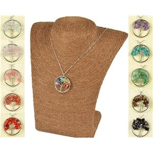 Pendant Necklace Happiness Tree of Life 30mm on Stones 77754