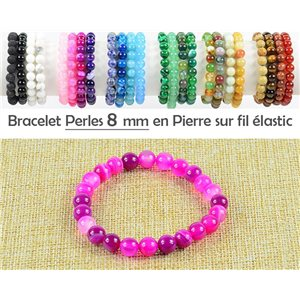 8mm Agate Fuchsia Beads Bracelet on elastic thread 77757