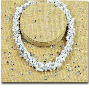 Howlite White Triple Row Stone Necklace L48-56cm New Collection 77762