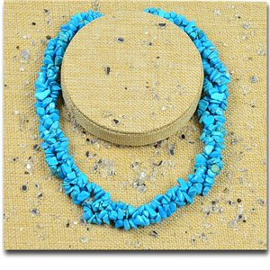 Howlite Turquoise Stone Triple Rank Necklace L48-56cm New Collection 77766