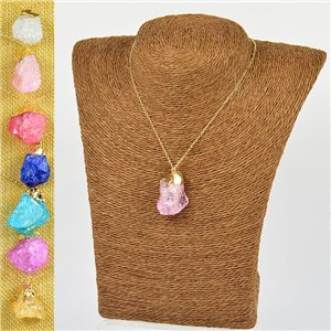 Mineral Quartz Pendant Necklace on gold metal chain L40-46cm New Collection 77775
