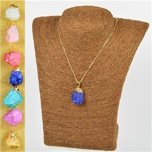 Mineral Quartz Pendant Necklace on gold metal chain L40-46cm New Collection 77777