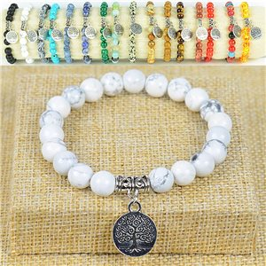 Living Howlite Beads Tree of Life 8mm White Beads Bracelet with Elastic Wire 77877