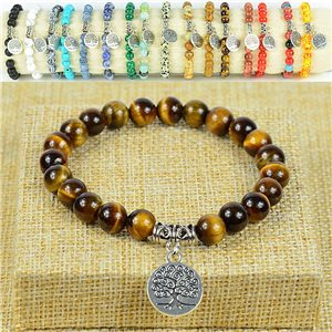 Tree of Life Life Beads Bracelet 8mm Stone Tiger Eye on elastic thread 77888