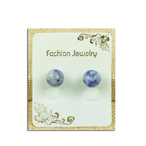 1p Earrings Nail Pearl 10mm Agate Stone Lilac - New Collection 77932