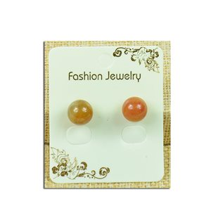 1p Earrings with Nail 10mm Stone Aventurine Orange - New Collection 77937