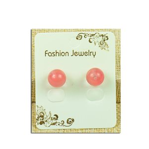 1p Earrings Nail Pearl 10mm Rose Quartz Stone - New Collection 77938