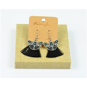 1p Earrings Crochet Tassel and Beads New Ethnic Collection 77941