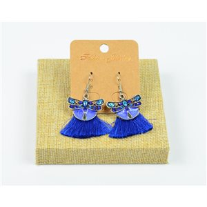 1p Earrings Crochet Tassel and Beads New Ethnic Collection 77944