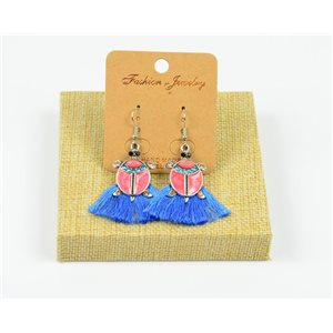 1p Earrings Crochet Tassel and Beads New Ethnic Collection 77955