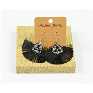 1p Earrings Crochet Tassel and Beads New Ethnic Collection 77957
