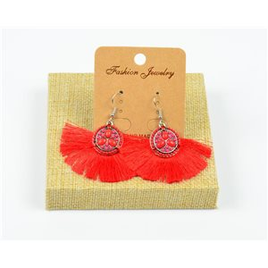 1p Earrings Crochet Tassel and Beads New Ethnic Collection 77958