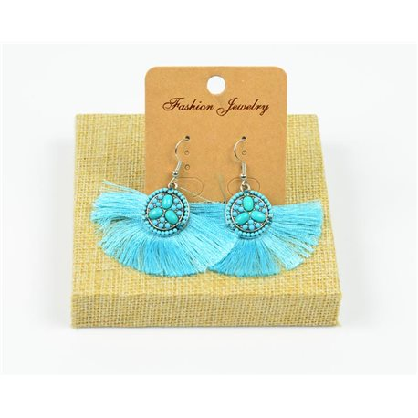 1p Earrings Crochet Tassel and Beads New Ethnic Collection 77959
