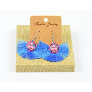 1p Earrings Crochet Tassel and Beads New Ethnic Collection 77960
