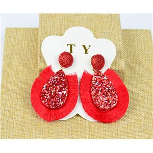 1p Boucles Oreilles à Clou Pompon et Paillettes New Collection Chic 77893