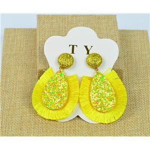 1p Boucles Oreilles à Clou Pompon et Paillettes New Collection Chic 77896