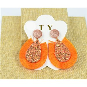 1p Boucles Oreilles à Clou Pompon et Paillettes New Collection Chic 77897