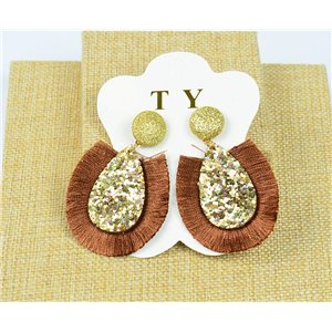 1p Boucles Oreilles à Clou Pompon et Paillettes New Collection Chic 77898