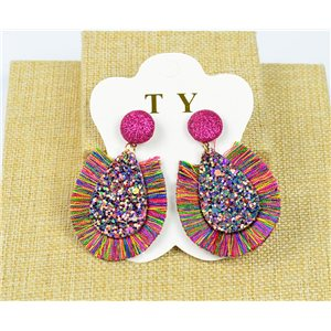 1p Boucles Oreilles à Clou Pompon et Paillettes New Collection Chic 77899
