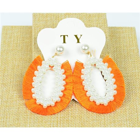 1p Earrings with Nails Pompon on Beads New Chic Collection 77904