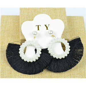 1p Earrings with Nail Pompon on Beads New Chic Collection 77907