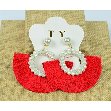 1p Earrings with Nail Pompon on Beads New Chic Collection 77909