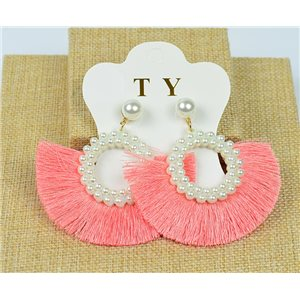 1p Earrings with Nail Pompon on Beads New Chic Collection 77911