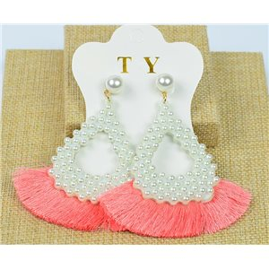 1p Earrings with Nails Pompon on Beads New Chic Collection 77916