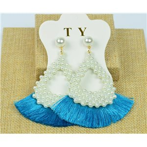 1p Earrings with Nails Pompon on Beads New Chic Collection 77917