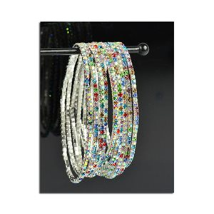 Pack of 10 - Stretch Bracelet Set with Sparkling Rhinestones on Silver Mesh 77842