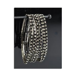 Pack of 10 - Stretch Bracelet Set with Sparkling Rhinestones on Anthracite Mesh 77865