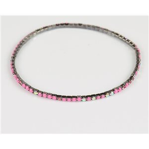 Pack of 10 - Stretch Bracelet Set with Sparkling Rhinestones on Anthracite Mesh 77867