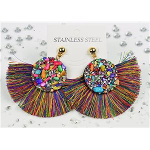 1p Earrings Nail Stud Stainless Steel Decor Stone and Rhinestone New Collection 77718