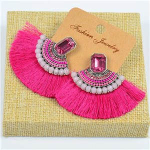 1p Earrings with Nails Handmade Beads and Strass New Ethnic Collection 77801