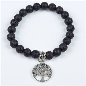 Lucky Tree of Life Beads Bracelet 8mm Lava Stone on elastic thread 78120