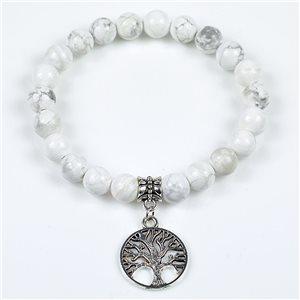 Charm Bracelet Tree of Life Pearls 8mm in White Howlite Stone on elastic thread 78121