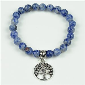 Lucky Tree of Life Beads Bracelet 8mm in Agate Lilac Stone on elastic thread 78124