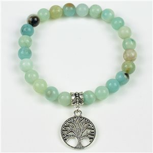 Lucky Tree of Life Beads Bracelet 8mm in Jasper Stone on elastic thread 78126