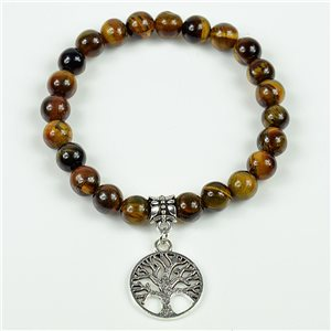 Charm Bracelet Tree of Life Beads 8mm in Tiger Eye Stone on elastic thread 78131