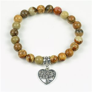 Lucky Tree of Life Beads Bracelet 8mm in Jasper Stone Landscape on elastic thread 78145